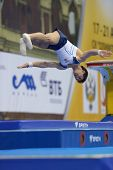 MOSCOW, RUSSIA - APRIL 21: Artur Davtyan, Armenia performs vault in final of 5th European Championsh