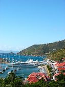 :Aerial view at Gustavia Harbor with mega yachts at St Barts