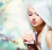 stock photo of rose  - Beautiful Spring Girl With Rose Flower - JPG
