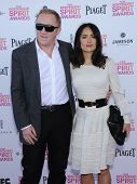 LOS ANGELES - FEB 23:  Salma Hayek & Francois-Henri Pinault arrives to the Film Independent Spirit Awards 2013  on February 23, 2013 in Santa Monica, CA.