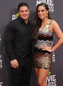 LOS ANGELES - APR 14:  Ronnie Ortiz-Magro & Sammi Giancola arrives to the Mtv Movie Awards 2013  on