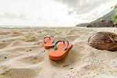 Flip-flop na praia.
