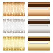 Set of luxury metallic backgrounds for discount or credit cards.