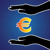 Vector Illustration Of Protecting Or Safeguarding Euro Money