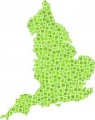 Isolated map of England - UK -