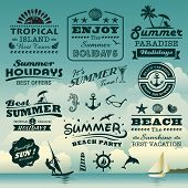 stock photo of dolphin  - Vintage summer typography design with labels - JPG