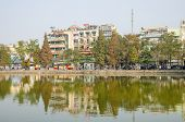 HANOI, VIETNAM - JANUARY 13: Hoan Kiem Lake is centrally located and minutes walking from Hanoi's Ol