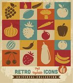 Fruit en plantaardige icons set.Vector