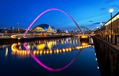 picture of tyne  - The Gateshead Millennium Bridge is a pedestrian and cyclist tilt bridge spanning the River Tyne in England between Gateshead - JPG
