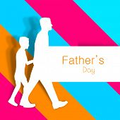 Happy Fathers Day background with paper cut out of a father holding hand of his son on colorful abst