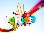 picture of cricket  - Abstract 3D colorful text Cricket with ball and stumps on wave background - JPG