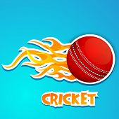Cricket ball in fire with text Cricket on blue background.
