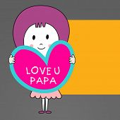 Cute little girl holding note in heart shape with text Love You Papa on yellow and grey background.