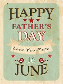 Vintage background of Happy Fathers Day with text 16th June on green.