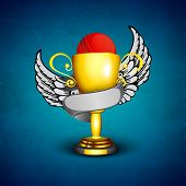 Abstract Cricket background with golden trophy with cricket ball and wings.