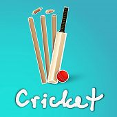 Abstract Cricket concept with bat, ball and stumps on blue background.