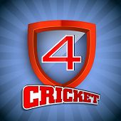 Cricket concept with winning shield having text numeric four for shots on blue rays  background