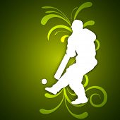 Illustration of a cricket batsman in playing action on abstract floral green background.