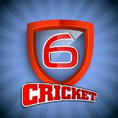 Cricket concept with winning shield having text numeric six for shots on blue rays  background