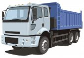 picture of dumper  - Vector isolated dump truck on white background without gradients and transparency EPS8 format - JPG