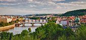 Panoramic View Of Prague Bridges