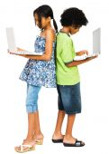 Boy and Girl Working On Laptops