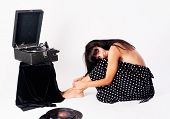 Pretty woman with gramophone