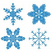 set blue Snowflake isolated on white background. Vector illustration.