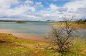 Beautiful countryside landscape with Alqueva Lake in the Alentejo region of Portugal
