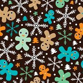 picture of ginger-bread  - Seamless retro ginger bread man kids christmas illustration pattern wallpaper background in vector - JPG