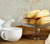 choux pastry eclairs on glass stand base