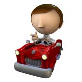 3D Business Man Character In A Red Car