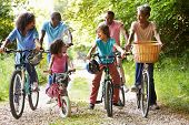 image of multi-generation  - Multi Generation African American Family On Cycle Ride - JPG