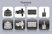 Landmarks of Florence. Set of monochrome icons. Editable vector illustration.