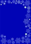 Intricate snowflakes in subdued, cold tone on dark blue background suitable for winter themed statio