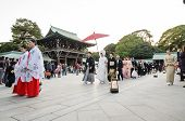 Tokyo,japan-nov 20 :a Japanese Wedding Ceremony At Meiji Jingu Shrine