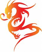 picture of prosperity sign  - colorful dragon isolated on white background - JPG