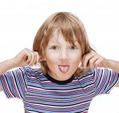 foto of long tongue  - boy with long blond hair sticking out his tongue  - JPG