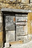 Ancient wooden gate in Rocamadour, France