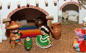 Mexican Hispanic Nativity With Joseph With A Sombrero