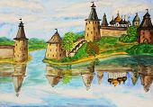 Town Pskov In Russia, Hand Drawn Painting