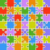 Jigsaw puzzle color parts template. 7x7 pieces.