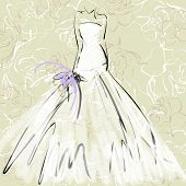 art sketch of beautiful young  bride with the bride's bouquet on floral sepia background with space for text; #41