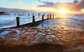Starburst Sunrise At Mahon Rock Pool Australia