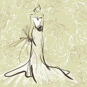 art sketch of beautiful young  bride with the bride's bouquet on floral sepia background with space for text; #51
