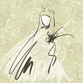 art sketch of beautiful young  bride with the bride's bouquet on floral sepia background with space for text; #55