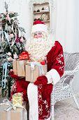 Saint Nicolas with gifts sits near the Christmas fir-tree