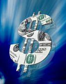 American Dollar Symbol On Blue Background