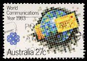 AUSTRALIA - CIRCA 1983: stamp printed by Australia, shows World Communications Year, circa 1983