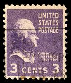 USA - CIRCA 1938: Postage stamp printed in the USA, a portrait 3th President of the United States, T